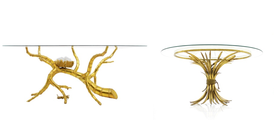 """Links: JACQUES DUVAL-BRASSEUR - Glas-Esstisch """"Brass Bamboo"""" mit beleuchtetem Quarzelement, um 1970 objects20c Rechts: Ovaler Glastisch mit goldenem Fuss in Form einer Weizenähre, Frankreich 1970er Jahre inside-room"""