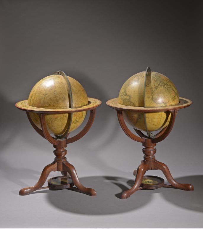 Un globe céleste et un globe terrestre Carton bouilli  Signés « G. et J. Cary London 1823 »