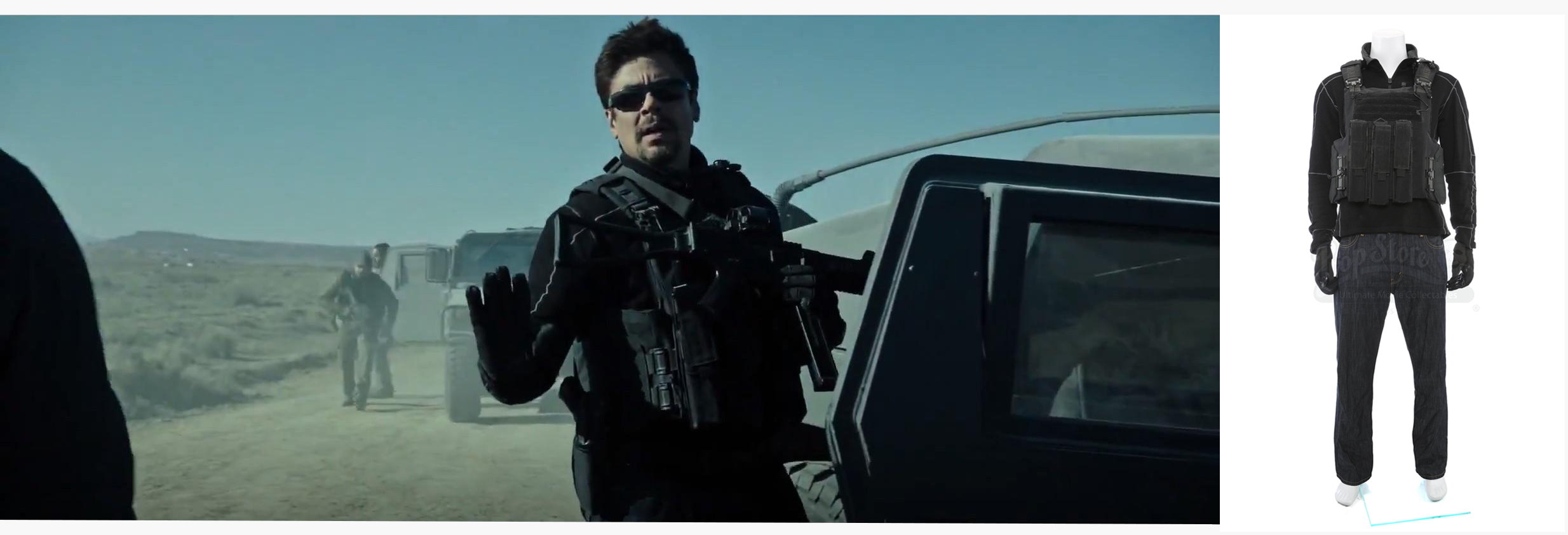 Alejandro's (Benicio Del Toro) Convoy Ambush Costume. Photos: Prop Store