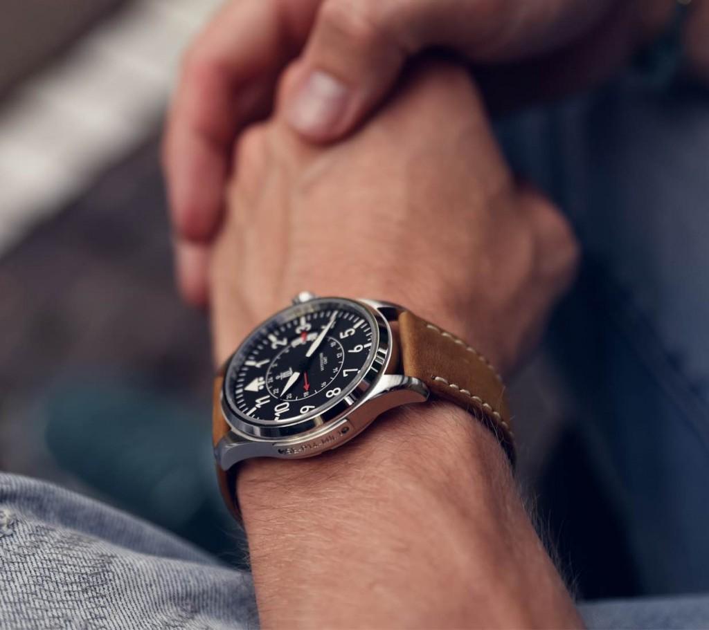 Todays Wristshot: Monchard Skytoucher GMT polished/brushed steel on a Brown leatherstrap.