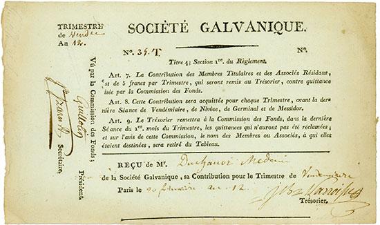 480 - Société Galvanique - Paris, 20. Februar l'an 12 (1803), Reçu, Contribution pour le Trimestre de Vi…, #34T Ausruf: 5.000 EUR