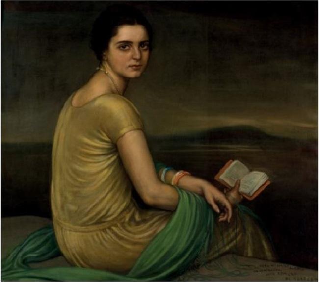 Lote 115: Julio Romero de Torres. Retrato Srta. de Alfonso. Óleo y temple sobre lienzo. 80,5 x 90 cm. Precio salida: 150.000 €.
