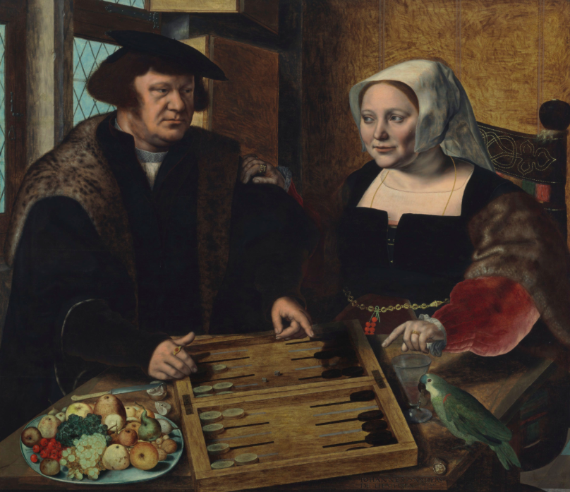 Double Portrait of a Husband and Wife, Half-Length, Seated at a Table, Jan Sanders van Hemessen. 1532. Image: Christie's