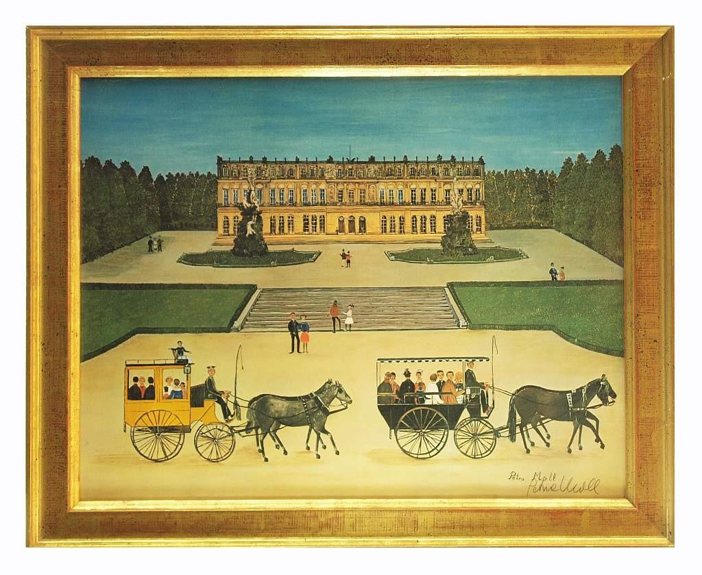 PETRA MOLL (1921 Krumbach - 1989 München) - Ansicht auf Schloss Herrenchiemsee, Aquarell/Mischtechnik, signiert