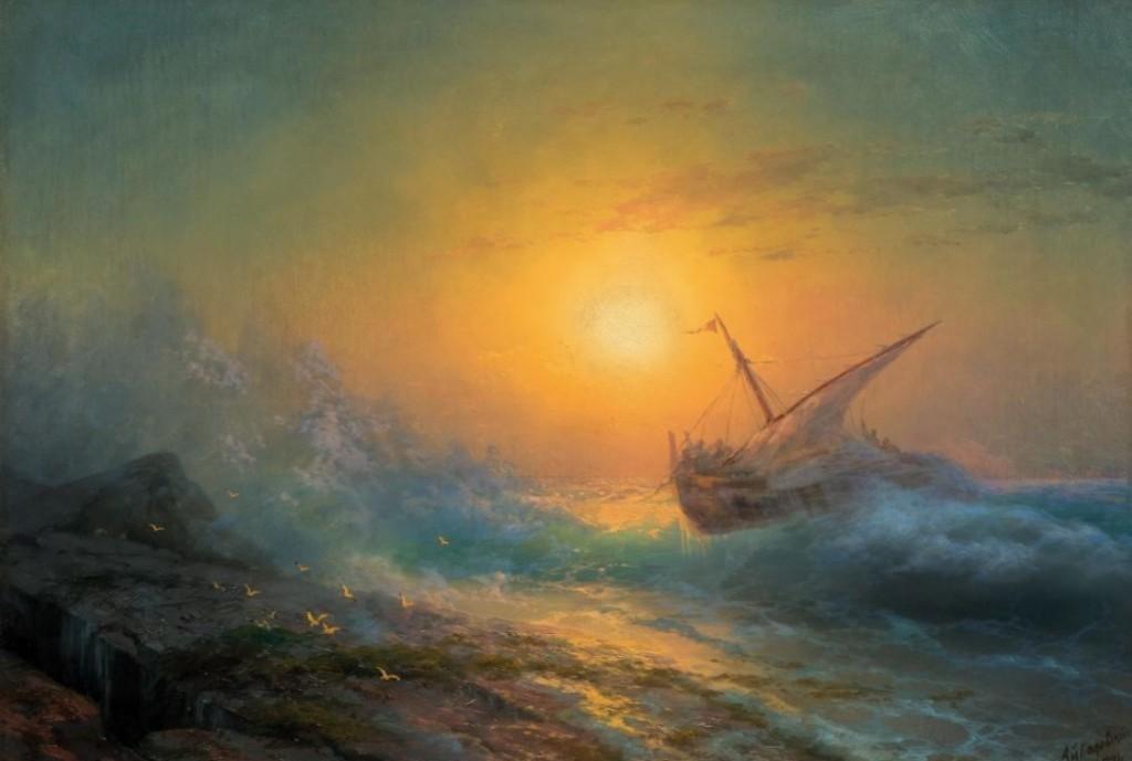 Ivan Konstantinovich Aivazovsky, Mer agitée au coucher du soleil, huile sur toile, 68 x 99 cm, signé et daté 1896 Estimation: CHF 380000-550000 (EUR 351850-509260)