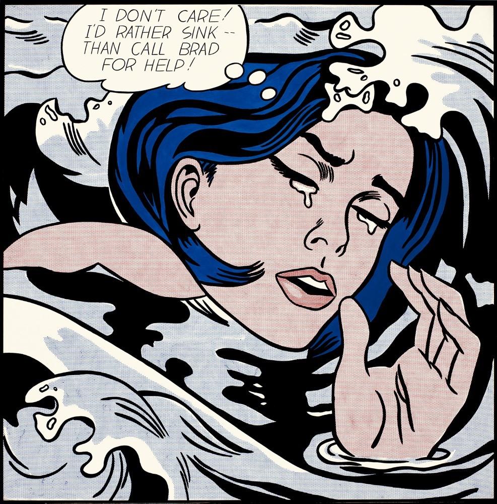 Roy Lichtenstein, 'Drowning Girl', 1963, parte della collezione del MoMA di New York.
