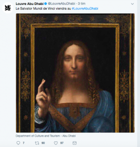 The Louvre's announcement on Twitter that Da Vinci's final masterpiece was to go to their Abu Dhabi collection
