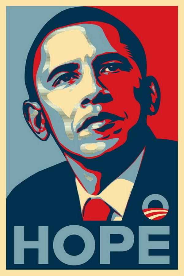 L'affiche de Shepard Fairey pour la campagne de 2008 d'Obama Image via Wikipedia