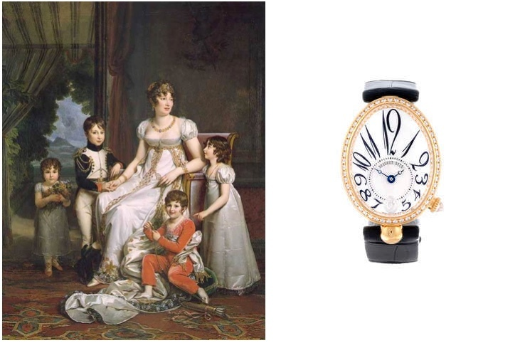 """Gauche: François Gérard - Caroline Bonaparte, Reine de Naples, avec ses enfants, circa 1808 Image via wikimedia.org Droite: BREGUET - """"Reine de Naples"""" or jaune et diamants"""