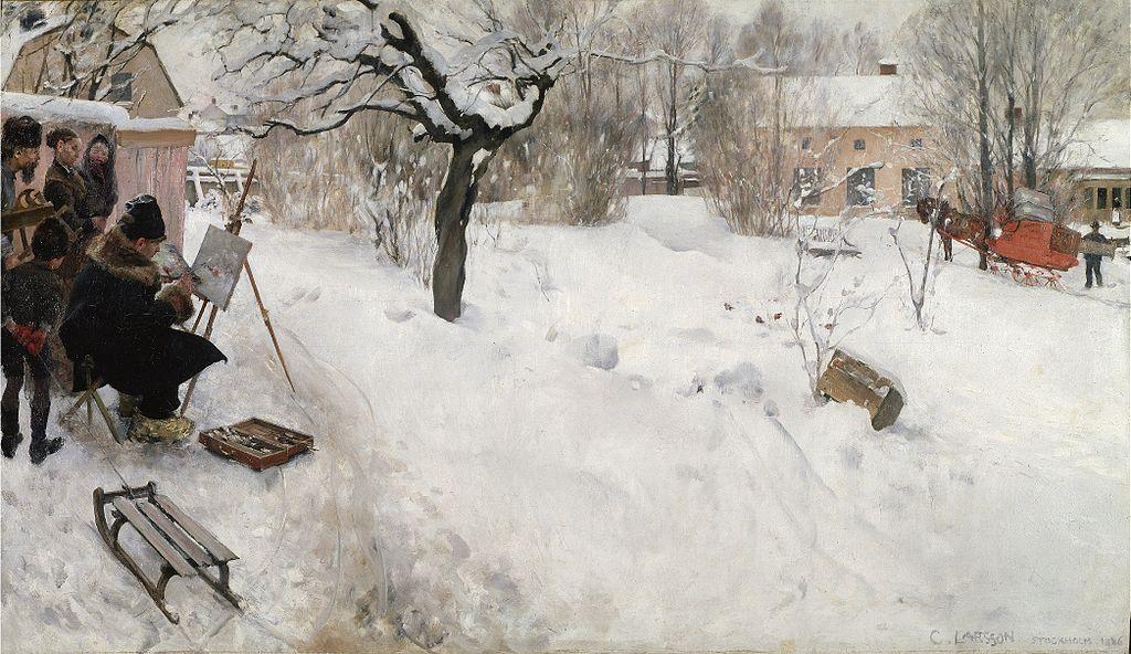 Carl Larsson, Friluftsmålaren. Vintermotiv från Åsögatan 145, Stockholm. Bild Wikimedia Commons