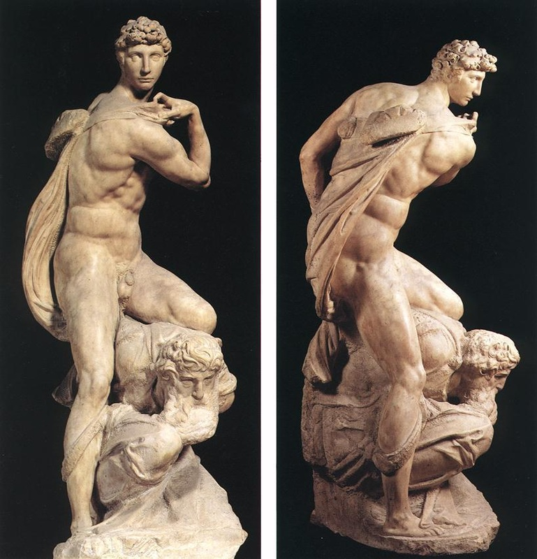 Michelangelos, 'Victory'. The man between Victory's legs is suppose to be Michelangelo himself. Image: tripimprover.som