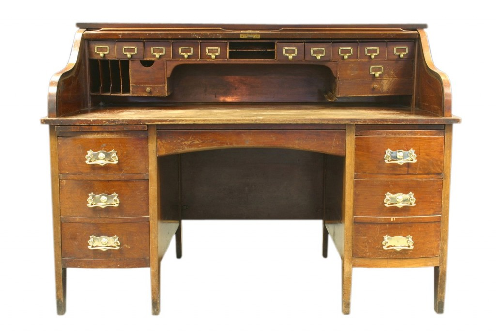 Edwardian mahogany tambour covered roll top deskNostalgia