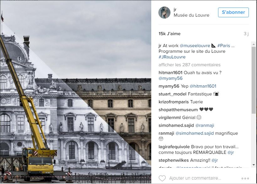 « At work @museelouvre… #Paris #JRauLouvre » ©JR (compte Instagram)