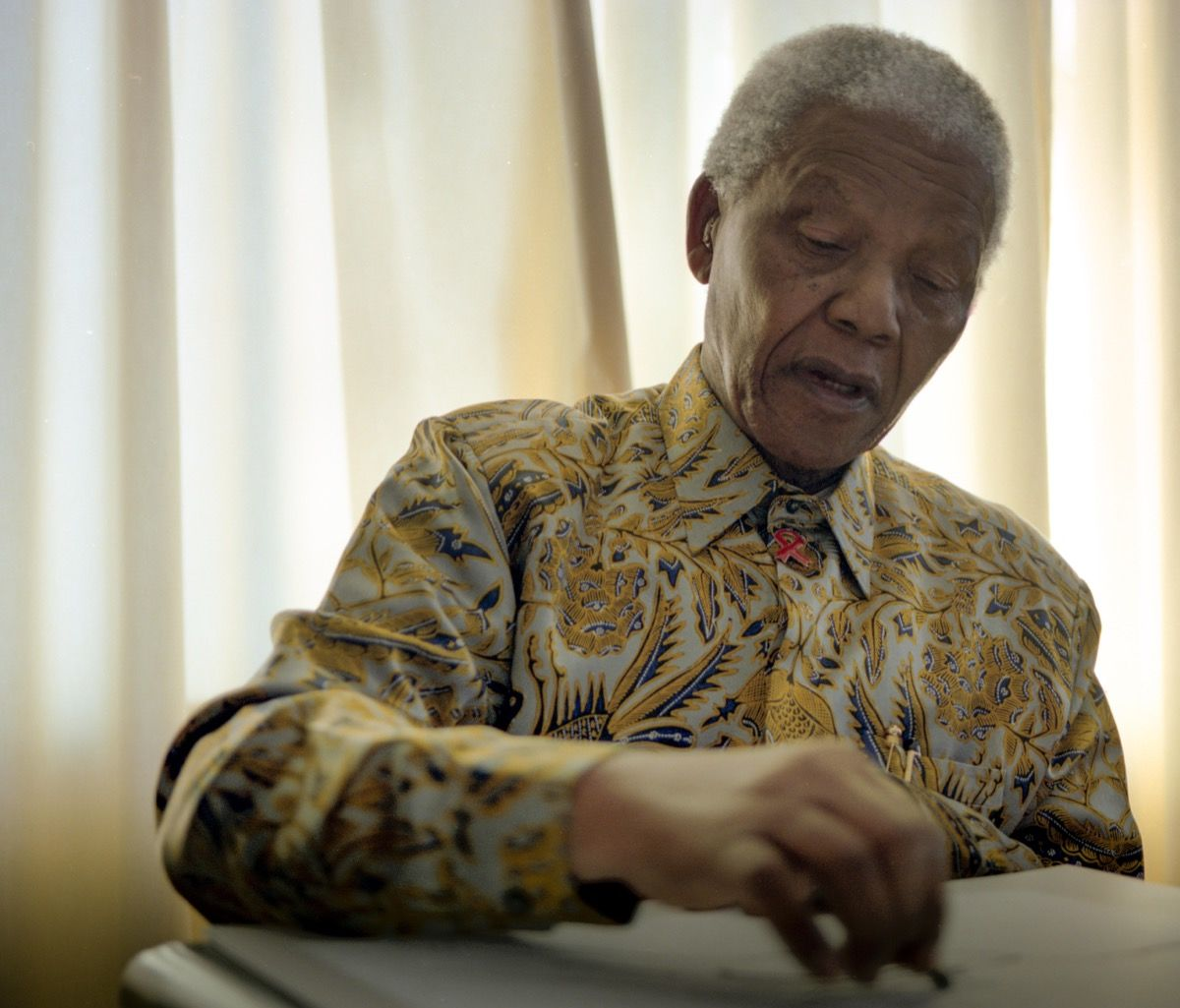 Nelson Mandela drawing, photo by Grant Warren. Courtesy of WeTransfer and The House of Mandela Art (Via Artsy).