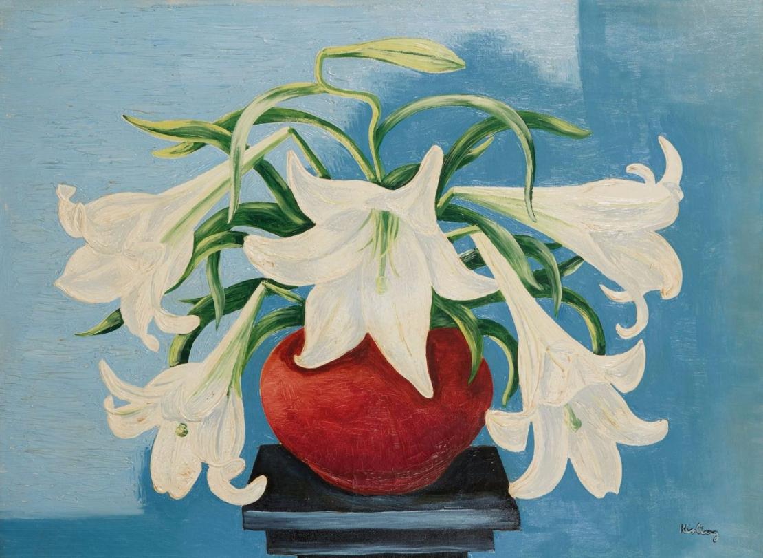 Moise KISLING (Cracovie 1891- Sanary sur mer 1953) Vase de lys, 1935