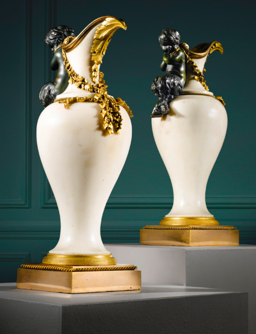 Pair of ewers in white marble, patinated bronze and gilt of Louis XVI period, circa 1780, attributed to Pierre Gouthière