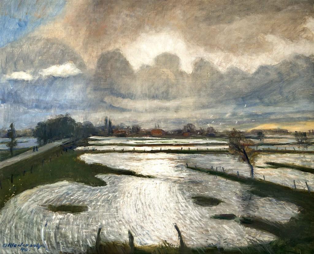 OTTO MODERSOHN (1865 Soest - 1943 Rotenburg) - Überschwemmung, Öl/Lwd., 63x77 cm, signiert und datiert, 1940 Mindestpreis: 16.000 EUR