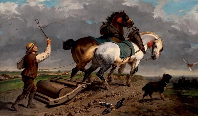 """Scuola europea, Lotto 82, """"Labor de campo"""". Olio su tela, XIX secolo."""