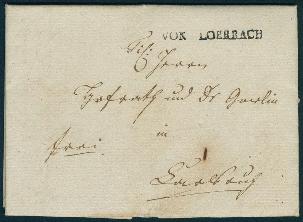 """Altdeutschland Baden - """"VON LOERRACH""""-Einzeiler gestochen klar auf Brief von 1802 mit Inhalt"""
