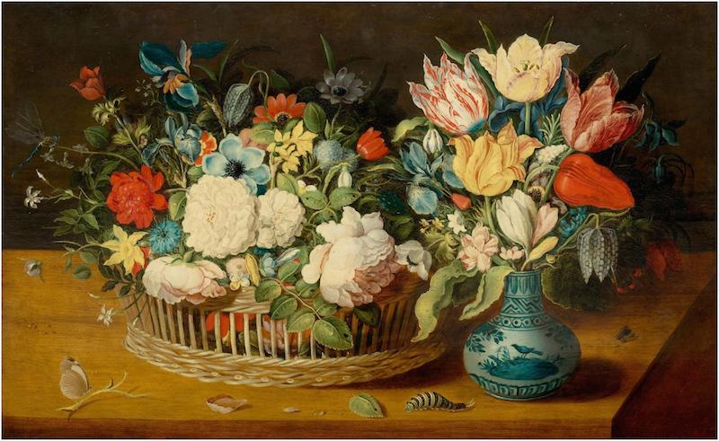 Osias Beert (cirka 1580-1624) - Stilleben med blommor i en korg och blombukett i en porslinsvas på en bordsskiva med insekter, olja.