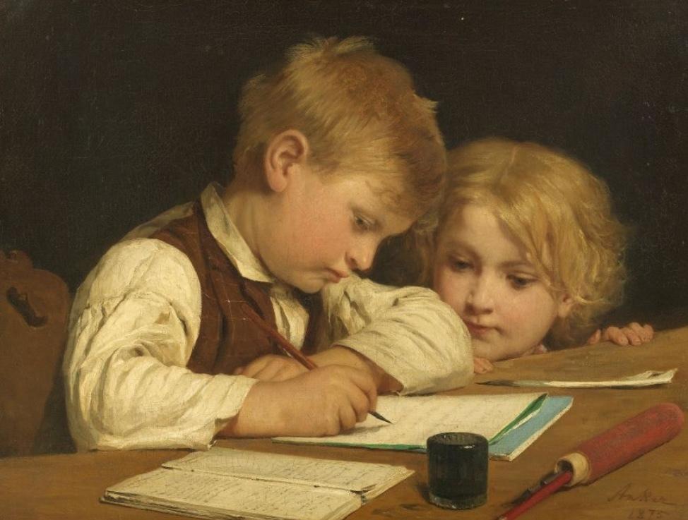 ALBERT ANKER (1831-1910) - Garçon écrivant avec sa soeur, huile / toile, signé et daté, 1875