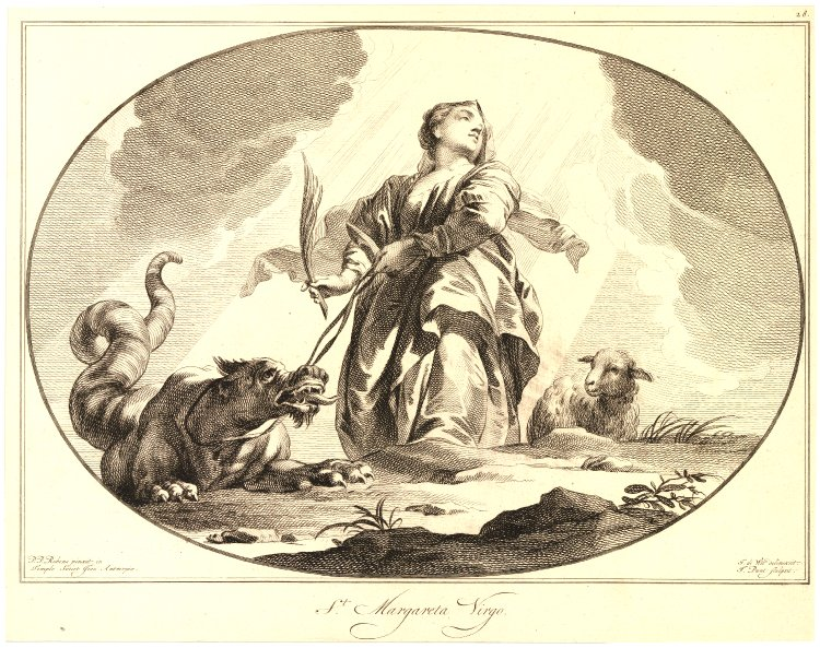 Plate of the ceilings of the Jesuit Church of Antwerp, n28: Sainte-Marguerite; standing in the center holding a dragon on a leash, a lamb on the right, oval composition, after Peter Paul Rubens, image © The Trustees of the British Museum