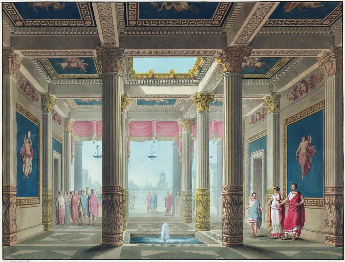 """Alessandro Sanquirico (1777 Mailand 1849), Scene eseguite pel melodramma serio """"L'ultimo giorno di Pompei"""", um 1827"""