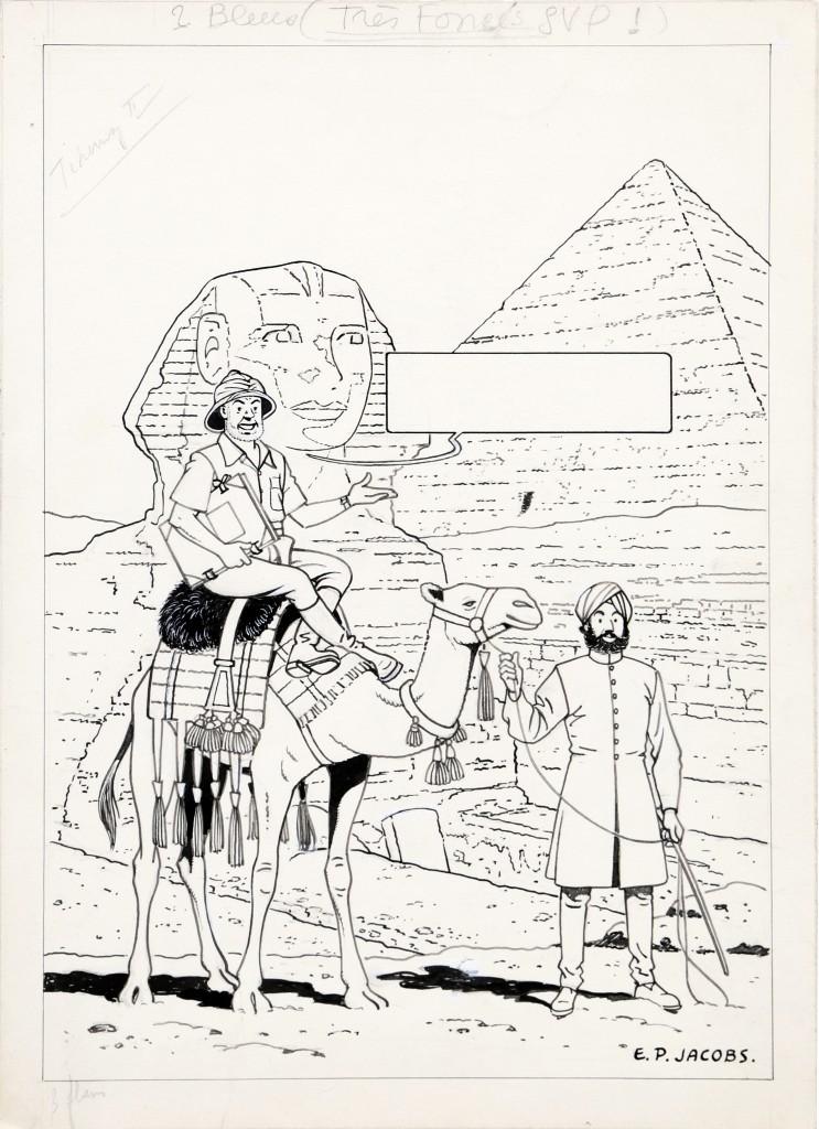 Jacobs, Le Mystère de la grande pyramide I, illustration à l'encre de Chine et à la gouache blanche pour la couverture du journal Tintin n°11 du 16 mars 1950