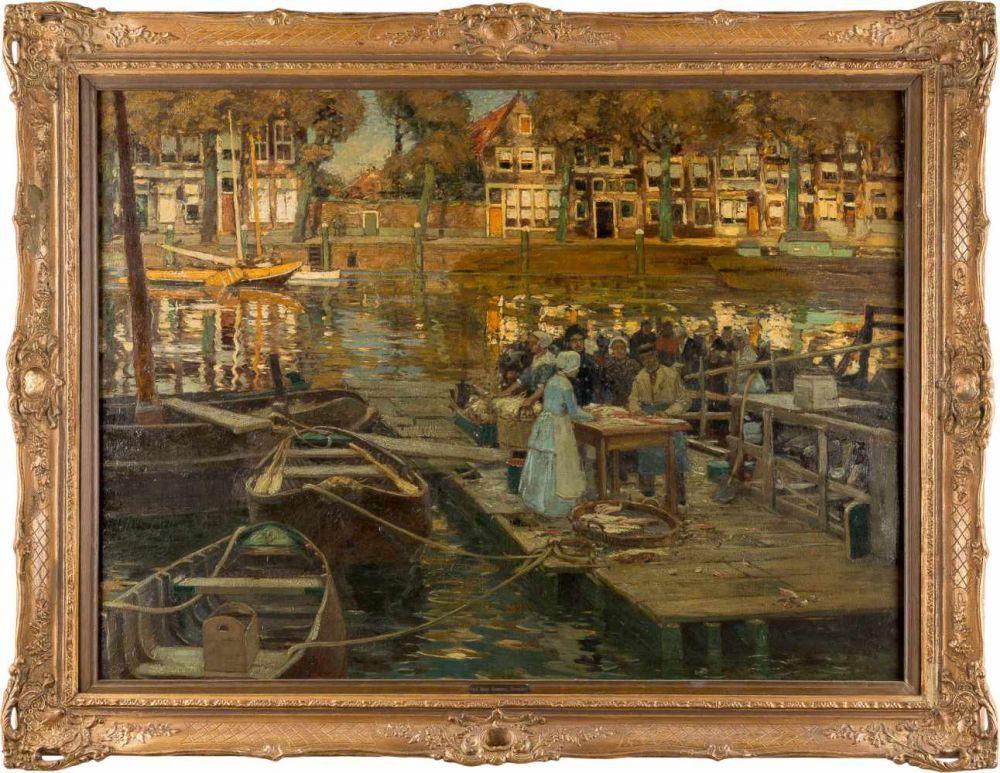 HEINRICH HERMANNS (1862 Düsseldorf 1942) - Fischmarkt in Dordrecht, Öl/Lwd., signiert