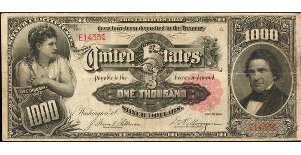 Billet certificat de 1 000 dollars dit « Marcy », date de 1891