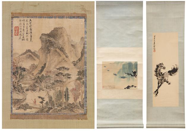 Kakemon, Uppsala Auktionskammare, Hsu Pei-hung, Fu Pao-shih, Scrolls