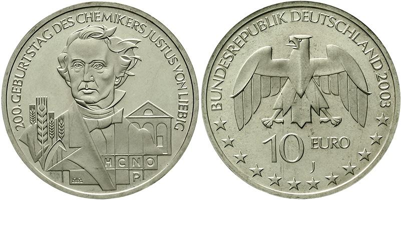 BRD, 10 Euro Justus Freiherr von Liebig 2003