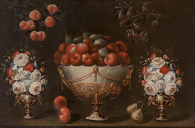 ESCUELA VALENCIANA. Bodegón con frutero, ramas de ciruela y melocotón y dos floreros