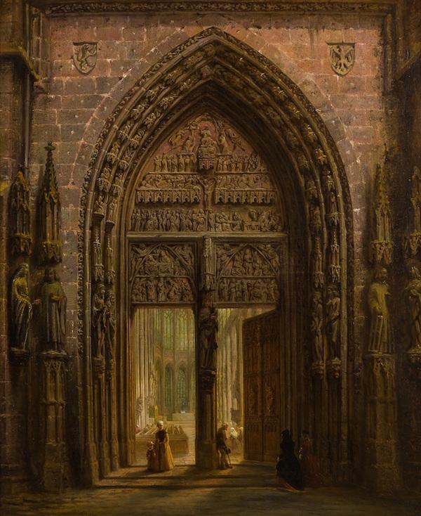 "David Roberts, ""Port till gotisk katedral"" (1856)."