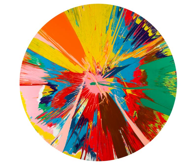 Damien Hirst, Beautiful, shattering, slashing, voilent, pinky, hacking, sphincter paintingEstimate: £250 000 -350 000Hammer price: £755 000