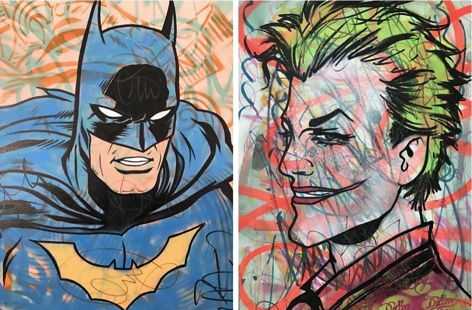 Vänster: Batman Höger: The Joker/The Suicide Squad
