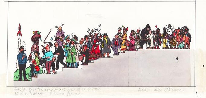 Hergé. La fresque Hergé (Studios), 1979 BD Enchères