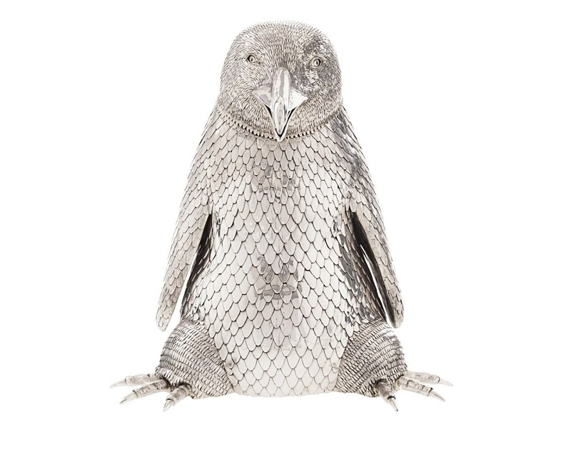 Soporte para botellas de cava en forma de pingüino de plata de FRATELLI LISI
