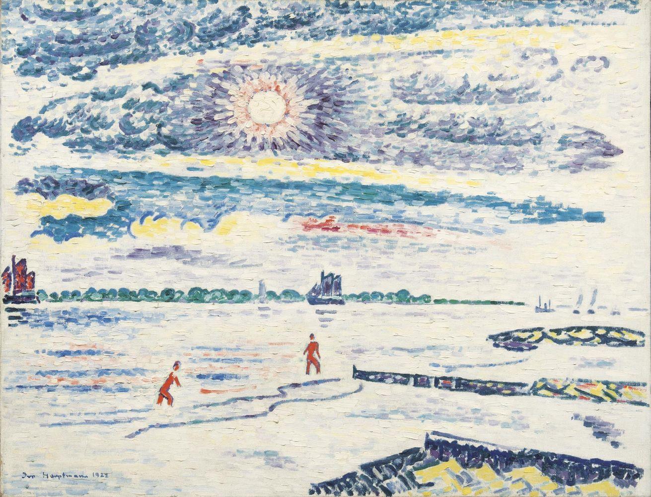 Ivo Hauptmann (1886 Erkner - 1973 Hamburg), Mittagssonne auf der Elbe, Öl/Lwd., signiert und datiert, 1922