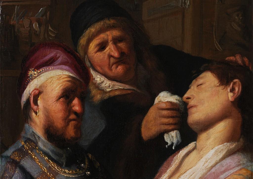 Rembrandt Harmensz. van Rijn, «Le patient inconscient (Une Allégorie de l'odorat)», détail, vers 1624, image via Le Getty