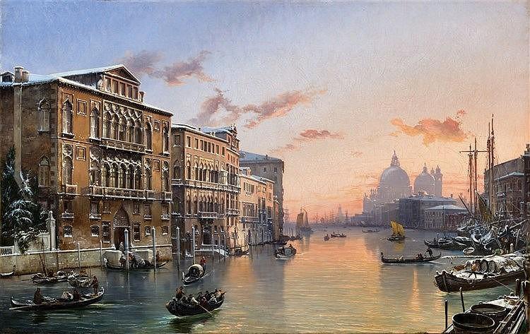 FRIEDRICH NERLY (1807 Erfurt - 1878 Venise) - Hiver sur le Grand Canal avec Santa Maria della Salute, huile sur toile, 65 x 103 cm, signée Estimation: 180 000-220 000 EUR