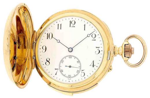 POITEVIN - Rotgold-Savonette, Minuten-, 5-Minuten- und Viertelstunden-Repetition mit 3 Hammern, ca. 1920 Schätzpreis: 15.000-22.000 CHF