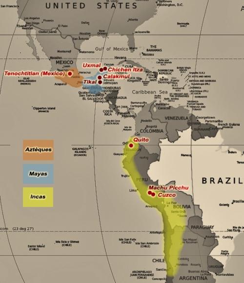 Carte des civilisations précolombiennes Image via jesuiscultive.com