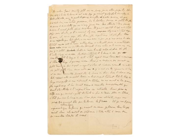 Manuscrit « Les sources du soir à Illiers », vers1907-1908, image ©Sotheby's