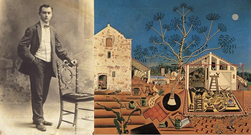 Links: Joan Miró 1907 | Abb.: Fundació Joan Miró Rechts: JOAN MIRÓ - La masia (1920-22). National Gallery of Art, Washington, D. C.