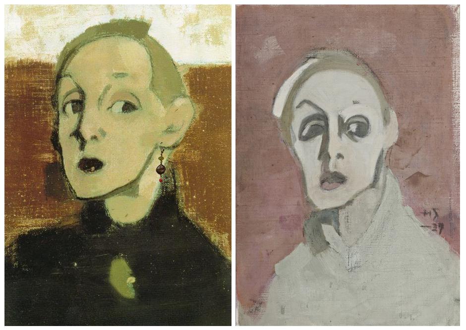 Självporträtt, till vänster från 1939, till höger från 1938. Bilder: Pinterest