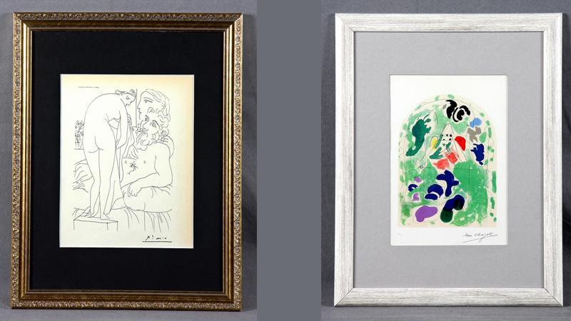 """T.v. Pablo Picasso (1881-1973). """"sculpteur avec au repor Marie-Thérèse et sa representation pudique Venus. Vollard Suite Plate 51"""". Paris Ed Gerd Hatje Stuttgart, 1956. T.h. Marc Chagall (1887-1985). """"Isaks stam. ....... Jerusalems fönster"""". Monte Carlo Fernand Mourlot Paris, 1962."""