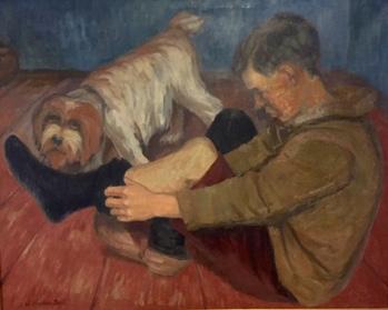 WILHELM FRAHM-PAULI (1879- 1960) - Junge mit Hund, Öl/Lwd., 100 x 80 cm, signiert Limitpreis: 1.200 EUR