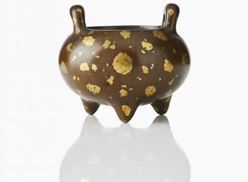 Brûleur d'encens en bronze doré