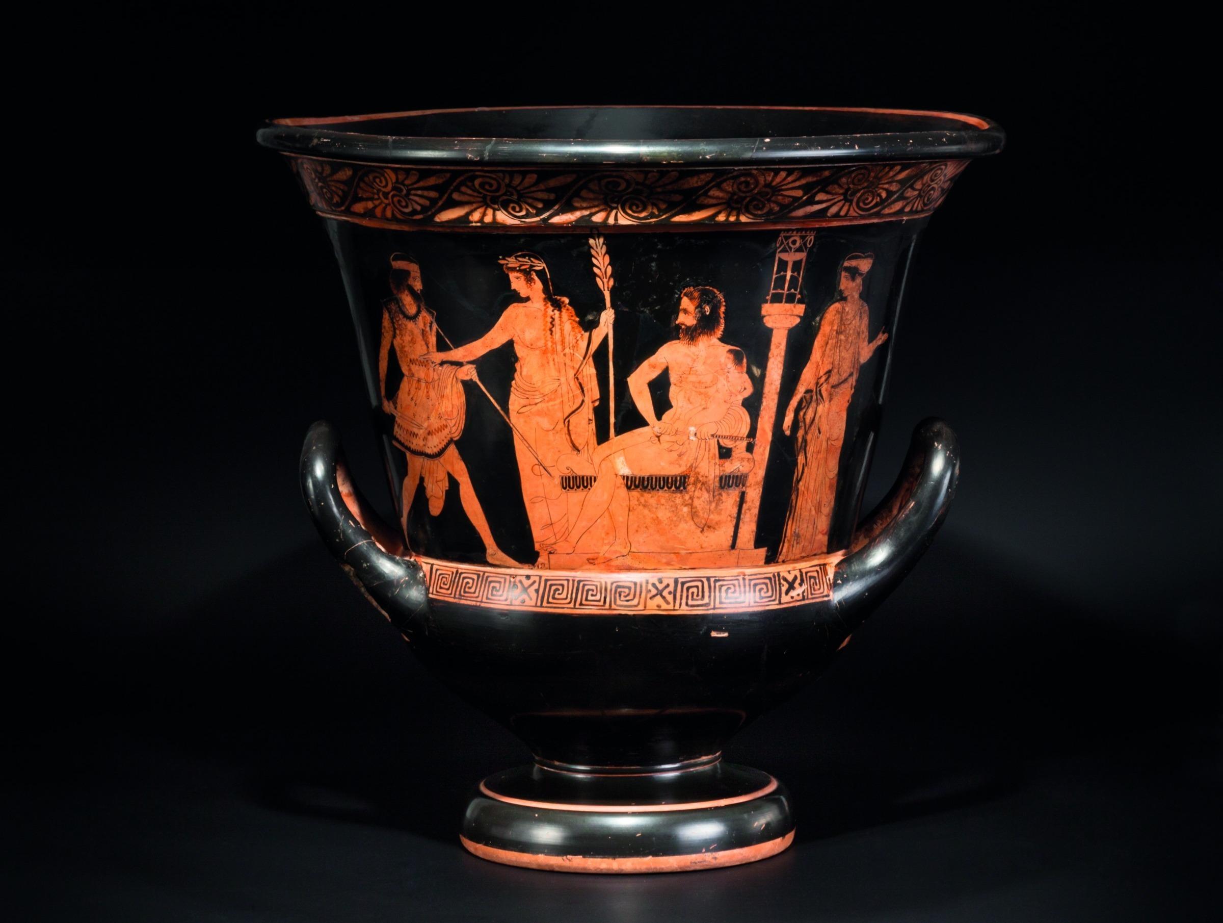 Vase antique du peintre Hector avec Telephos et Oreste, 440-430 av. J.-C.